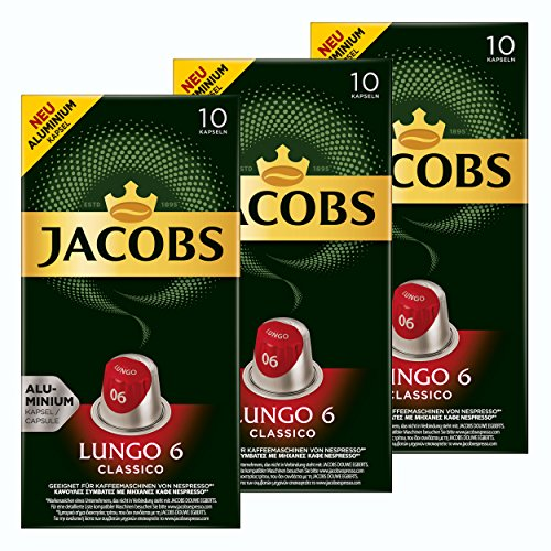 Jacobs Lungo 6 Classico, Kaffeekapseln, Nespresso Kompatibel, Kaffee, 30 Kapseln, á 5.2 g
