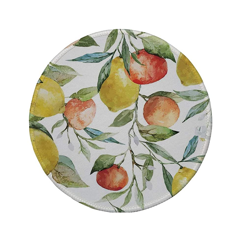 Non-Slip Rubber Round Mouse Pad,Nature,Lemon and Orange Clementine Tree Branches Fruit Yummy Winter Season Vitamin Design,Multicolor,11.8