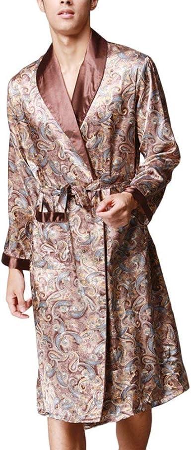 Hombre Kimono Primavera Otoño Satín Pijama Moda Casual ...
