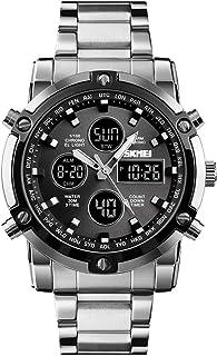 ساعة عصرية متعددة الوظائف بثلاث مرات وقرص كبير للرجال ورجال الأعمال الإلكترونية من الصلب الأسود + الأسود