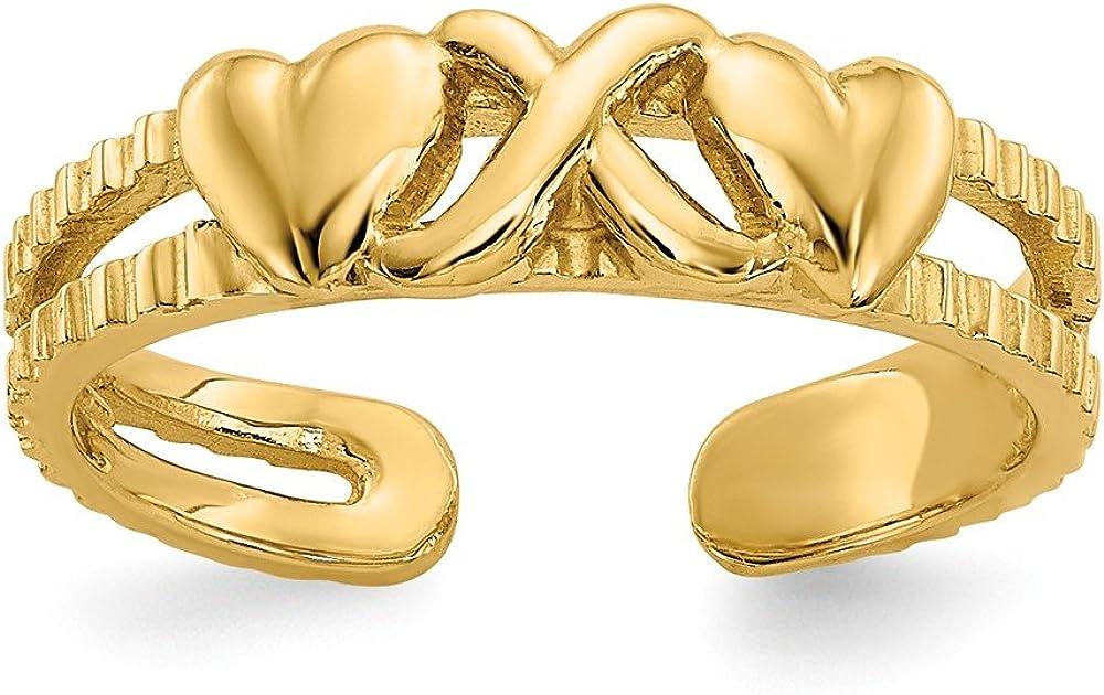 14K Yellow Gold Hearts & X Toe Ring