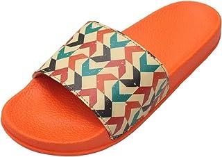 FREECO Women's Slides Flip Flops Comfy Sketch Printed PU Material Latest Fashion Girls Slippers (Orange)