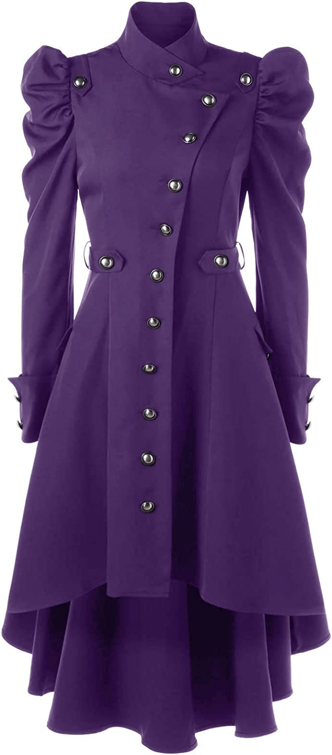 Beebeauty Gothic Vintage Womens Steampunk Victorian Swallow Tail Long Trench Coat Jacket