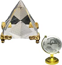 Divya Mantra Feng Shui Globe for Success and Crystal Glass Pyramid with Golden Stand for Spiritual Healing, Vastu Correcti...