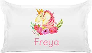 Di Lewis Kid's Personalized Pillowcase – Pink Unicorn Pillow Case - Customize with Name - Hypoallergenic, Breathable, Anti Wrinkle, White - 20x30 Standard Queen