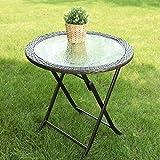 "PHI VILLA 26.8"" Outdoor Wicker Folding Table- Patio Rattan Dining Table"