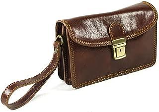 Genuine Italian leather Mens Travel Organizer Wrist Bag Clutch Man Bag Lock Brown