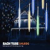 Samoleus Meteoros Lluvia Luces, Impermeabilizan 50CM 10 Tubo 540 LED de Meteoritos Luz Ducha Con Enchufe de la EU para Festival de Decoración del árbol de Navidad(Color-50CM)