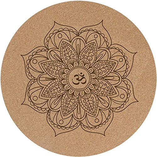 Rindasr yogamat, antislip rubber natuurkurk ronde zitkussens, EEN multifunctionele thuismat + kussen (60 x 60 cm)