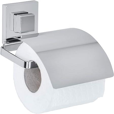WENKO Vacuum-Loc® dérouleur de papier WC avec couvercle en acier inox Quadro, Acier inoxydable, 13 x 11.5 x 14 cm, Brillant
