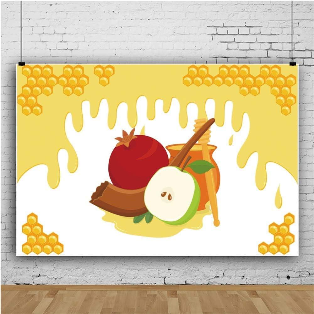 Happy Rosh Hashanah Background 3x5ft Jewish New Year Photography Backdrop Cartoon Honey Pot Apple Shofar Pomegranate Dessert Cherry Frame Bee Judaism Holiday Party Photo Prop Studio Decor