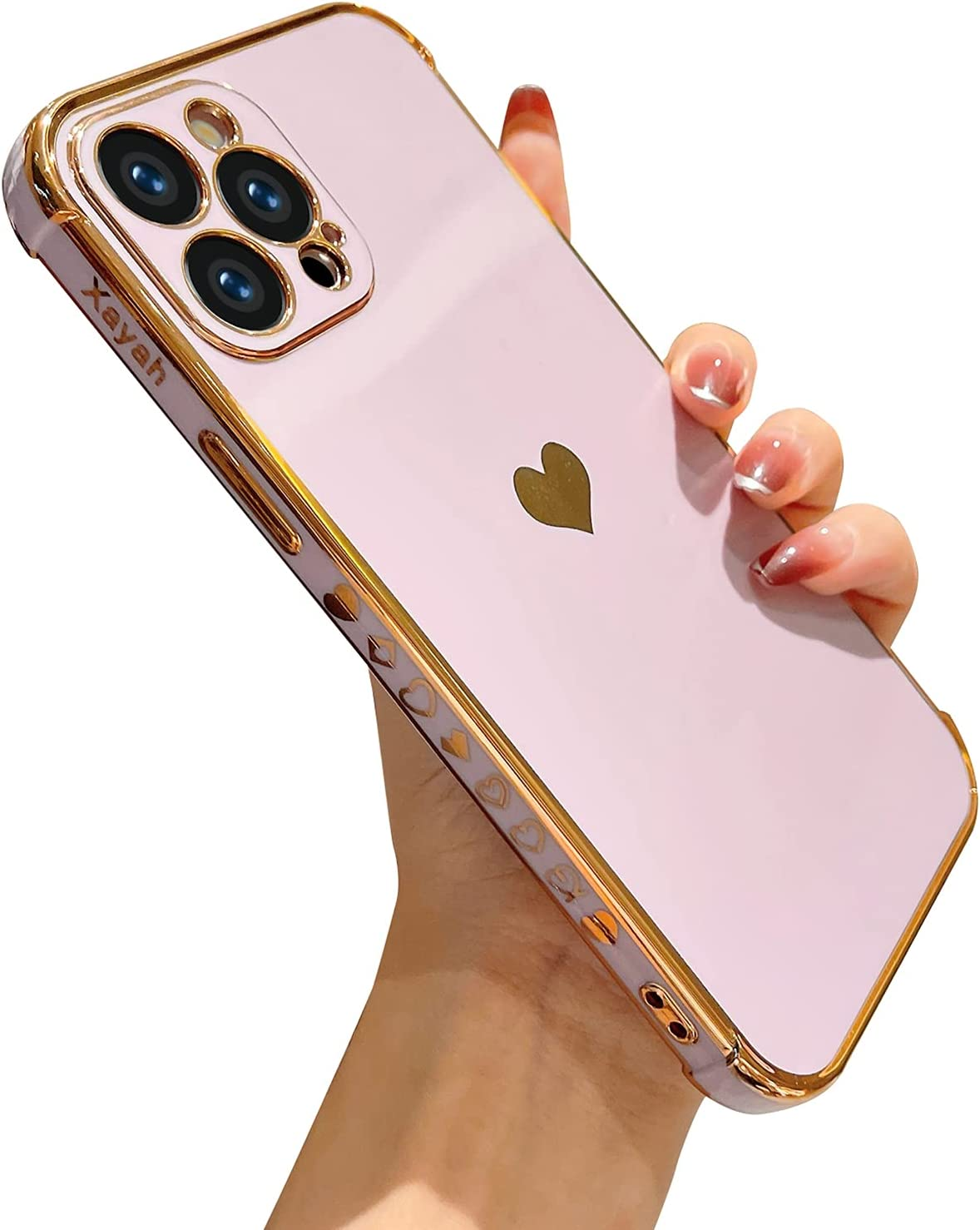 XAYAH Compatible with iPhone 12 Pro Max Electroplated Case Women Cute Heart Pattern Camera Lens Protection Soft TPU Silicone Protective Bumper Phone Cases for iPhone 12 Pro Max 6.7 inch (D-Purple)