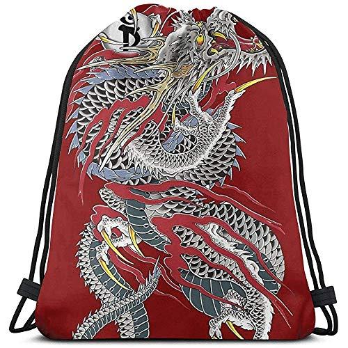 wallxxj Rucksäcke Yakuza Dragon Tattoo Kordelzug Taschen Mehrzweck-String Rucksack String Pull Bag Wasserdicht Durable Cinch Taschen Tragbare Sporttasche