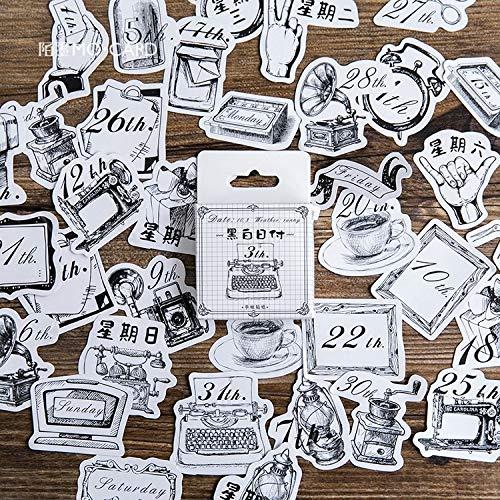 45 Pz/Lotto Giorni in Bianco E Nero Pittura Mini Carta Adesivo Decorazione Fai da Te Ablum Diario Scrapbooking Etichetta Adesiva Carino Stationer