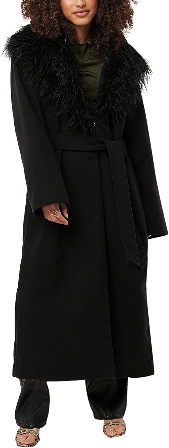 Na-Kd Women's Coat With Faux Fur