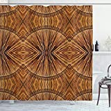 Ambesonne Tribal Shower Curtain, Boho Bamboo Pattern Prehistoric Eastern Jagged Wood Style Print, Cloth Fabric Bathroom Decor Set with Hooks, 70' Long, Ginger