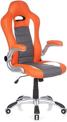 hjh OFFICE Racer Sport Silla giratoria, Cuero, Naranja y Blanco, 47.00x54.