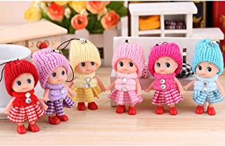 6 PCS Tiny Dolls, Silicone Princess Mini Doll for Girls, DIY Miniature Dollhouse Kit with Miniature Clothes, Decoration Little Dolls Christmas Festival Reborn Baby Stuff Gift & Bag Accessories 8cm