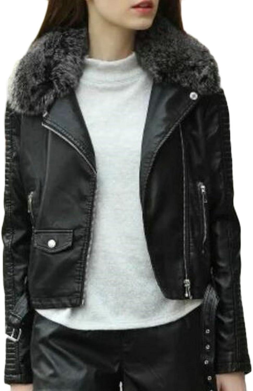 GAGA Women Basic Oblique Zipper Slim Fit PU Leather Coat Jacket