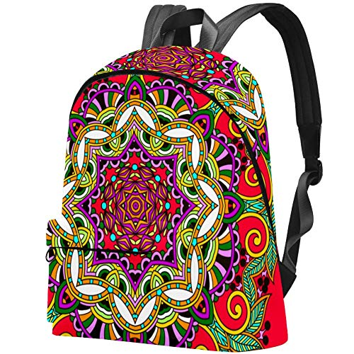Floral Mandala Paisley Ornament University School Bags for College Middle High School Students