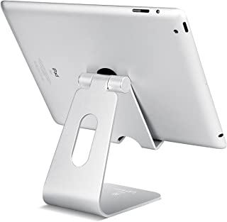 Tablet Stand Multi-Angle, Lamicall Tablet Holder: Desktop Adjustable Dock Cradle Compatible with Tablets Such As iPad Air Mini Pro, Phone XS Max XR X 6 7 8 Plus More Tablets (4-13 Inch) - Silver