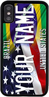 BRGiftShop Personalize Your Own Mixed USA and Brazil Flag Rubber Phone Case For Apple iPhone Xs Max