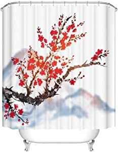 Fangkun Bathroom Shower Curtain Decor Set - Oriental Sakura Cherry Tree in Blossom Covering The Mountain Painting Pattern - Polyester Fabric Bath Curtains - 12 pcs Hooks - 72 x 72 inches
