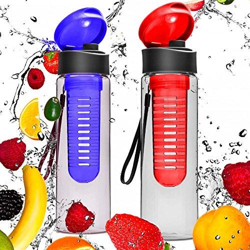 #DoYourFitness® Set de 2 Gourdes 700 ML »FruitExplosion« / idéale pour Tous Sportifs/Convient à Toute préparations à Base d'eau gazeuse de Fruits et légumes/Couleur : Rouge/Bleu