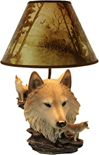 Gray Wolf Bust Table Lamp W/Nature Print Shade