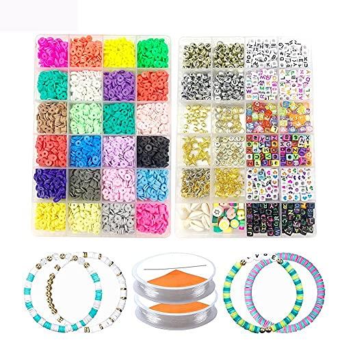 WAITLOVER 5800 cuentas planas redondas de arcilla de polímero, cuentas de arcilla Heishi, cuentas hechas a mano de arcilla de polímero con cuentas de piedras preciosas, alambre de joyería, alicates