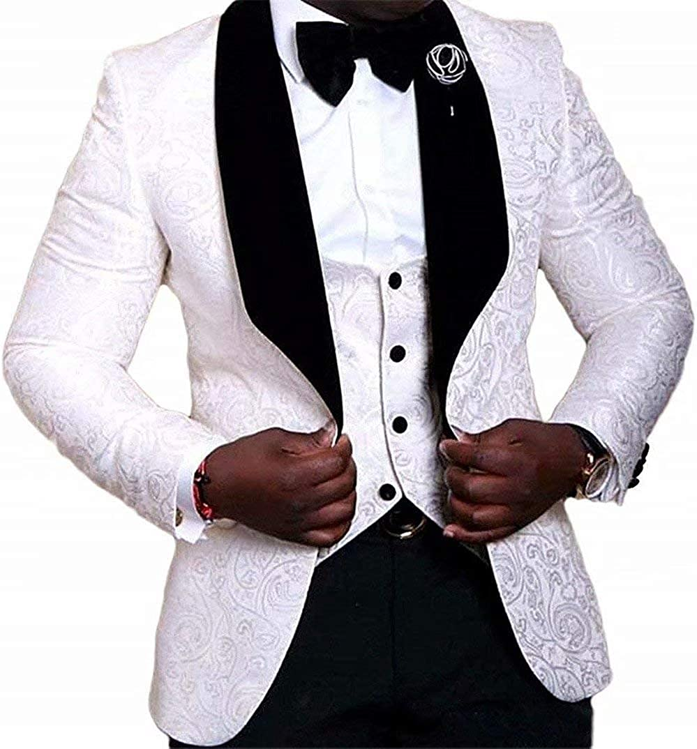 Onlylover Mens Jacquard 3 Piece Suit Slim Fit Tuxedo Blazer Jacket Vest & Trousers(White,40 chest/34 Waist)