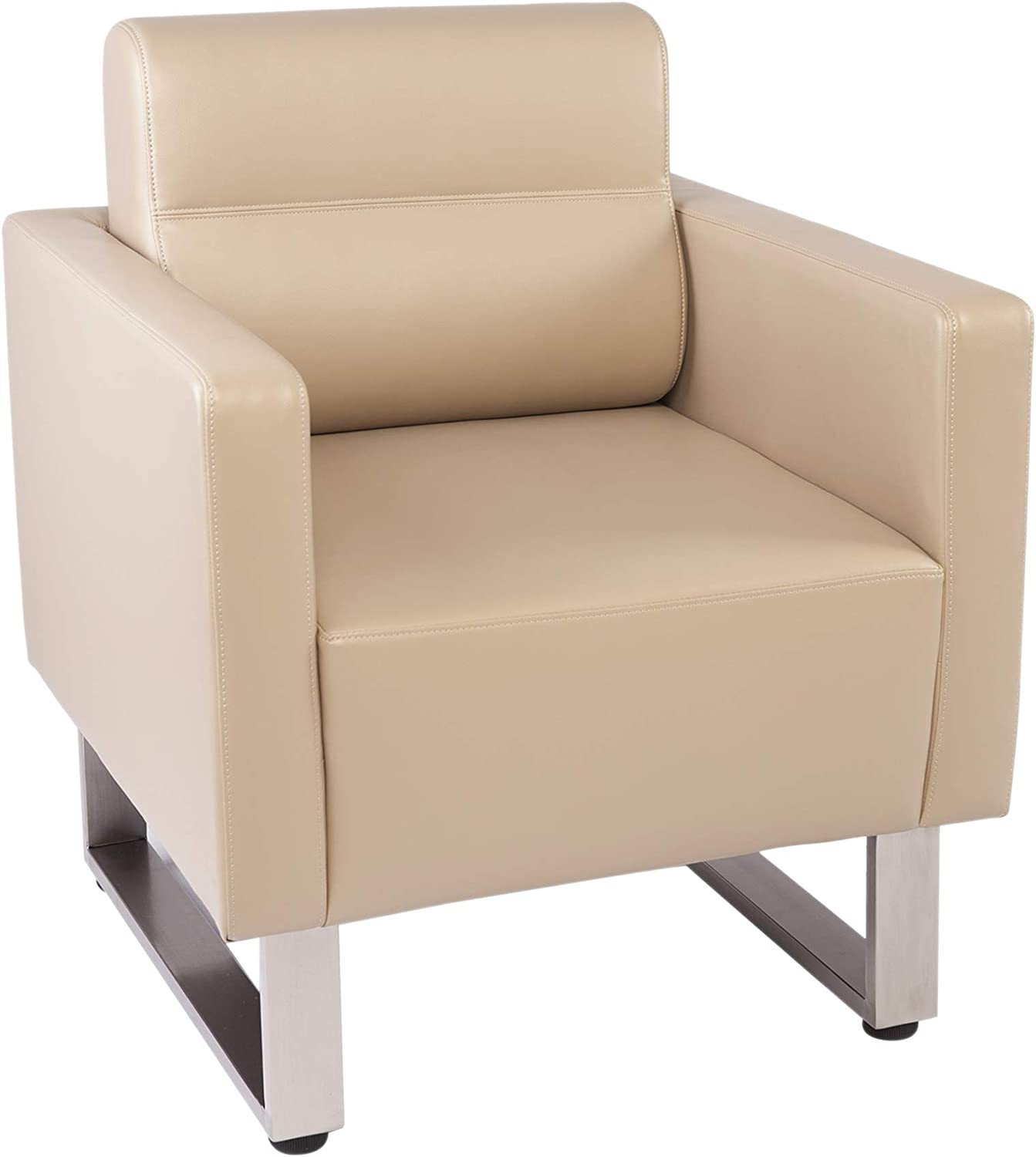 LuckyerMore Barrel Chair Lobby Chair Leather Occasional Sofa Chairs Reception Guest Single Sofa for Office Meeting Room Living Room,Beige