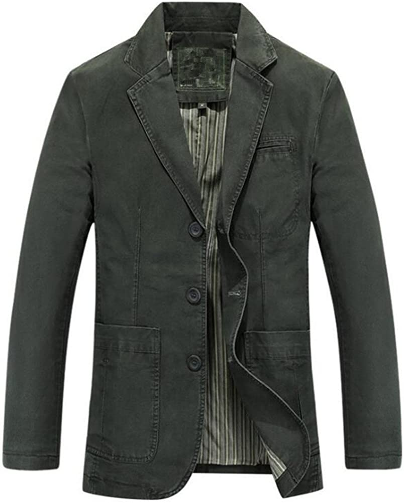 Newbestyle Mens Suit Jacket Casual Solid Cotton Twill Suit Three-Buttons Blazer Jacket Coats Outwear Loose Fit Tops