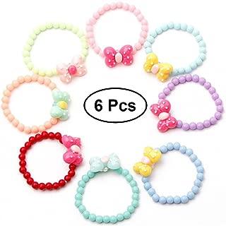 TOYMYTOY 6pcs Kids Bowknot Beaded Bracelets Set (Random Color)