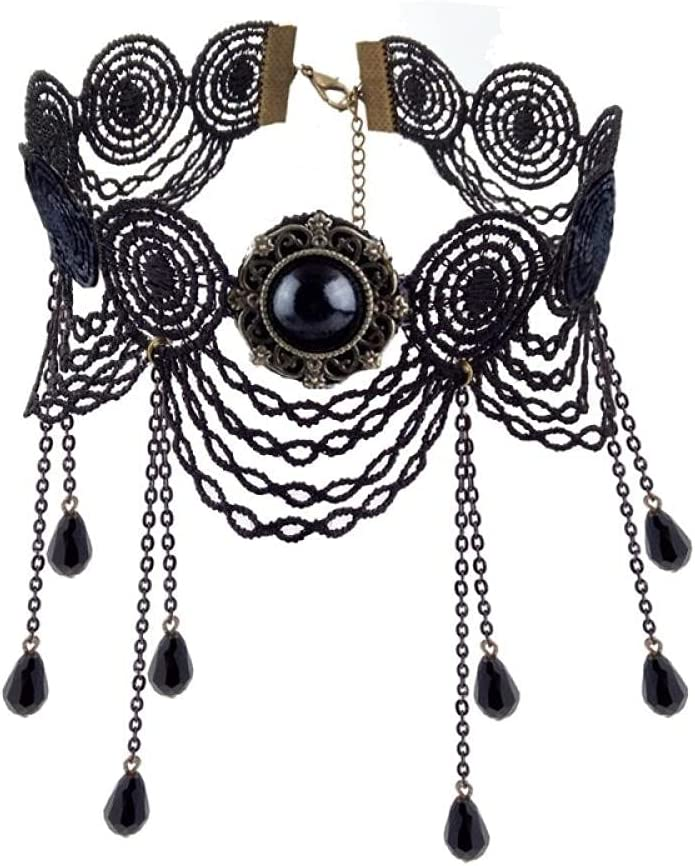 Choker Gothic Gothic Jewelry Vintage Lace Necklace & Pendant Women Accessories Choker Necklace False Collar Explanation Neck