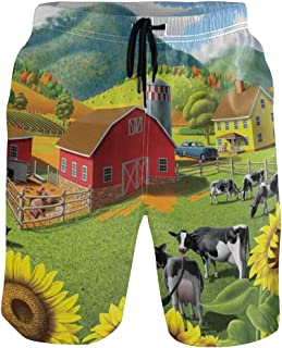 Pastoral Scenery Sunflower Cow Men's Swim Trunks Fit Quick Dry Beach Board Shorts Bathing Suit with Drawstring Pocket