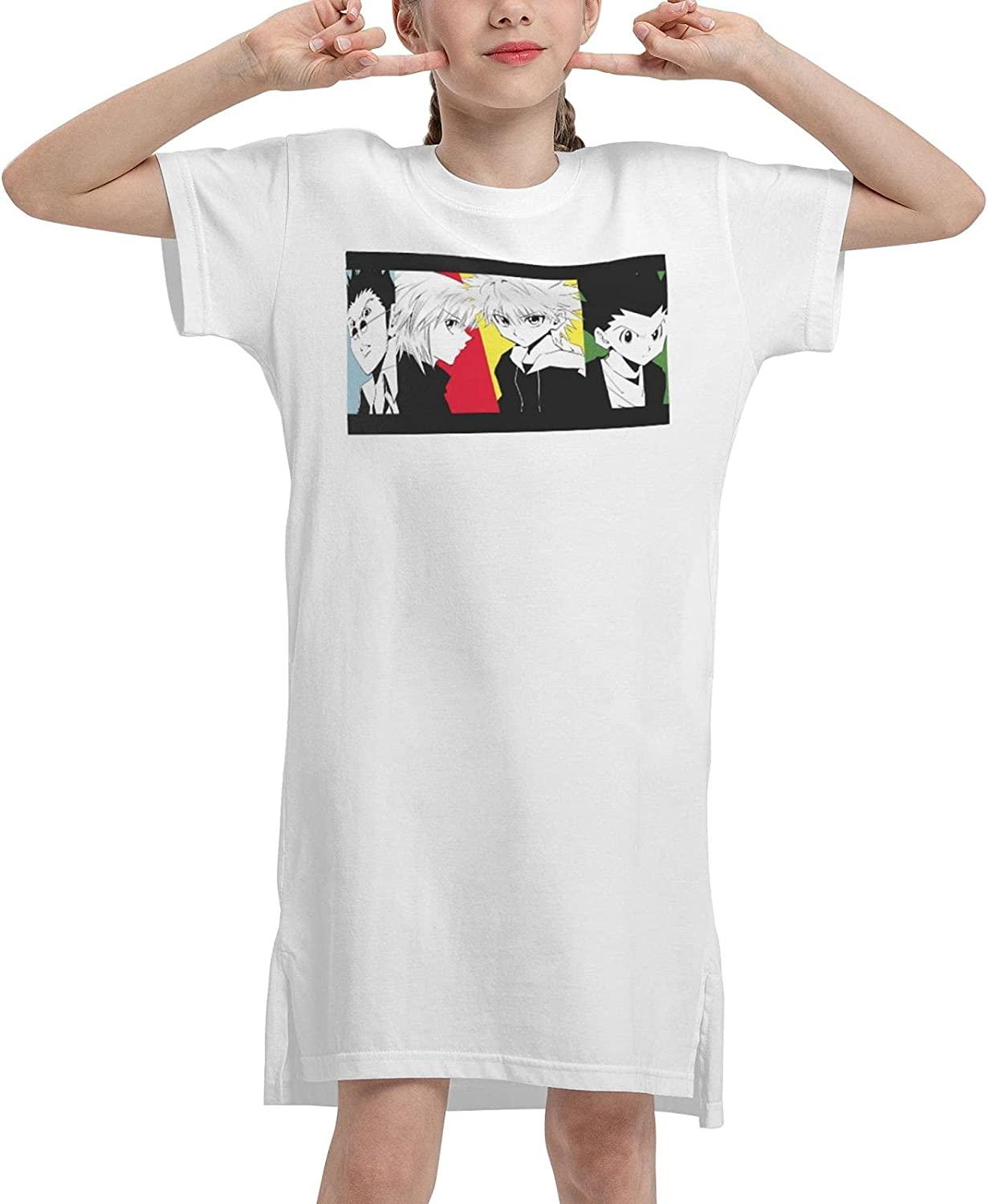 Hunter X Hunte Girls Short Sleeve Dress Casual Swing Twirl Skirt for Holiday Theme Party 7-12 Years