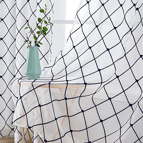 MIULEE 2er Set Sheer Vorhang Halbtransparente Dekorative Ösenvorhänge Gardine aus Voile Polyester Strich Durchwirken Lichtdurchlässig für Wohnzimmer Küche Cafeteria 140x175cm Dunkelblau