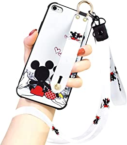 Cartoon Case for iPhone 7/8 Case, iPhone SE 2020 Case 4.7 Inch Cute Mickey Mouse Cartoon Character Design with Lanyard Wrist Strap Band Holder Shockproof Protection Bumper Kickstand Cover