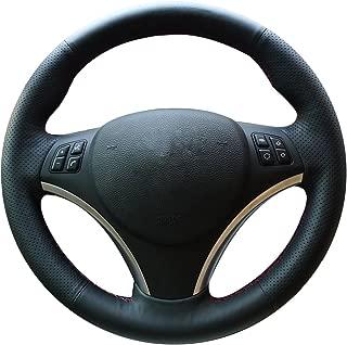 XuJi Hand Sewing Black Genuine Leather Steering Wheel Cover for BMW 128 I 135 I/BMW 325 I 328 I 328 XI 328 I XDrive/BMW 330 XI/BMW 335 I 335 XI 335 D 335 I XDrive