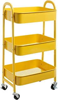 DOEWORKS Storage Cart 3 Tier Metal Utility Cart Rolling Trolley Organizer Cart with Wheels for Kitchen Makeup Bathroom Office, Yellow