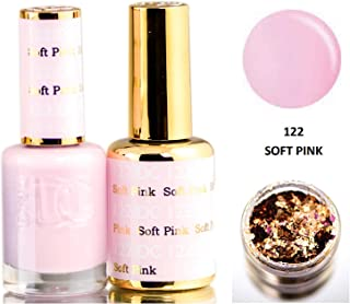 DND DC Pinks GEL POLISH DUO, Gel Lacquer 0.5 oz + Matching Nail Polish Color 0.5 oz, Daisy Nails (with bonus side Glitter) Made in USA (Soft Pink (122))