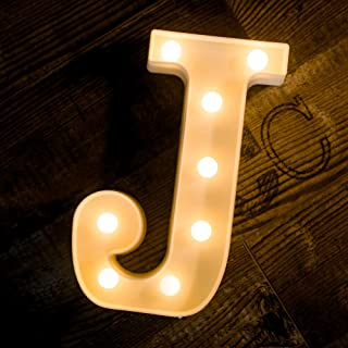 Foaky LED Letter Lights Sign 26 Alphabet Light Up Letters Sign for Night Light Wedding Birthday Party Battery Powered Christmas Lamp Home Bar Decoration (J)