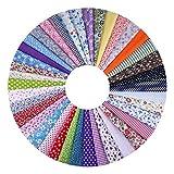 Naler 50 Tela de Algodón Estampada Retales Tela 25x25cm para Patchwork Costura DIY Manualidades