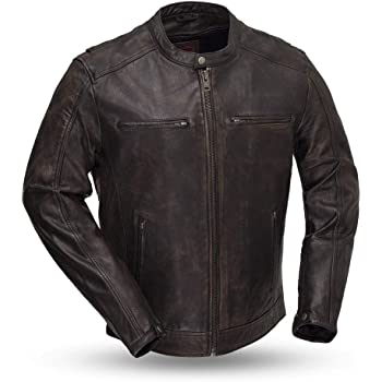 First Mfg Co Mens Carbon Leather Jacket Brown XXXX-Large
