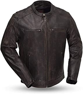 First Mfg Co Hipster Men's Leather Motorcycle Jacket (Black, Large)