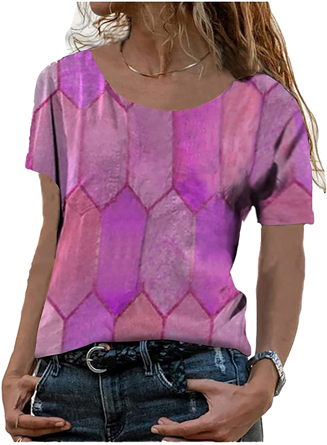 Women's Urban Casual Loose Short-Sleeved Geometric Mosaic Color Blouse Tops Printing Round Neck Tunic