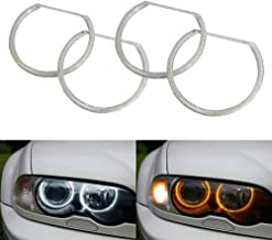 iJDMTOY Switchback Dual-Color White/Amber 336-SMD LED Angel Eyes Halo Rings Kit for BMW E36 E46 3 Series E39 5 Series E38 7 Series with Adaptive Xenon HID Headlight