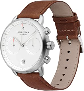 Nordgreen Pioneer Men's Chronograph Watch Minimal Silver Large 42mm Face White Dial and Interchangeable Straps