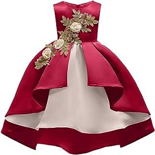 YGCLOTHES Vestido de Las Niñas,Muchacha Bowknot Sin Mangas Floral tutú de Bordado Gasa Malla de Boda Vestido de Fiesta Pri...